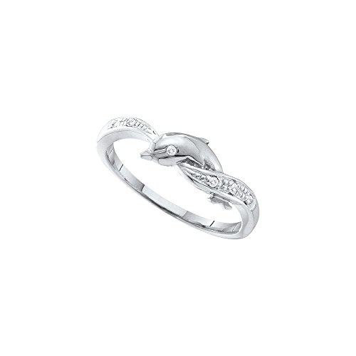 White Dolphin Ring Gold (Jewels By Lux 10kt White Gold Womens Round Diamond Dolphin Ring .03 Cttw Ring Size 10)