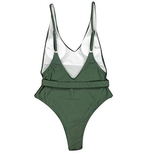 Women Fashion Pure Color Push-Up Padded Bra Beach Bikini One Piece Swimwear Army Green ()