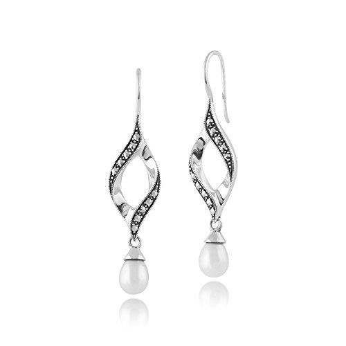 Freshwater Cultured Pearl & Marcasite Twist Drop Earrings in 925 Sterling Silver