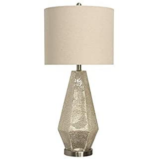 Collective Design L312146DSAM Thomas, Crackled Mercury Glass, White Table Lamp