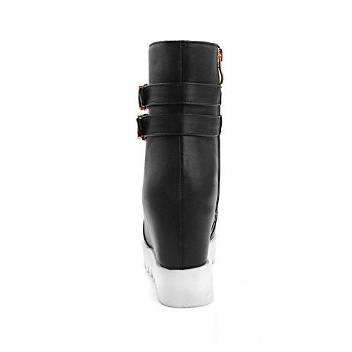 Platform Buckle Boots Black Ladies Imitated Leather Inside Heighten BalaMasa ROw1f