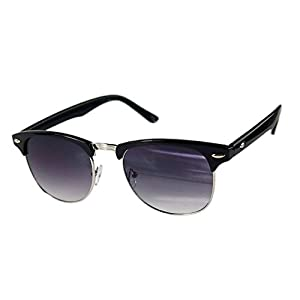 M-Egal Classic Half Frame Semi-Rimless Uv400 Oversized Sunglasses Black+Silver Eyes Wear