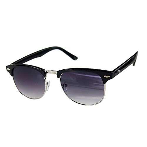 M-Egal Classic Half Frame Semi-Rimless Uv400 Oversized Sunglasses Black+Silver Eyes - Frame Black Half Sunglasses