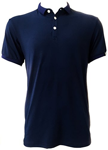 Polo Shirt Blue Cotton Blended Fit and Quick Dry (Large, Blue)