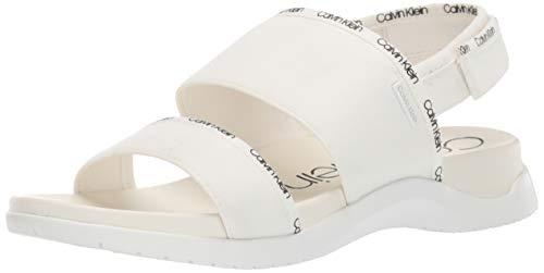 (Calvin Klein Women's UNO Flat Sandal White Logo Webbing/Stretch 11 M)