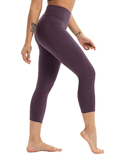 - coastal rose Women's Yoga Pants 3/4 Workout Leggings Crop Sports Tights BlackBerry Cordial S