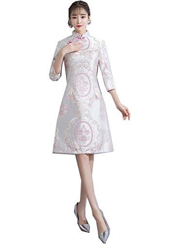 (Shanghai Story 3/4 Sleeve Satin Cheongsam Knee Length Qipao Aodai Dress 3XL 54)