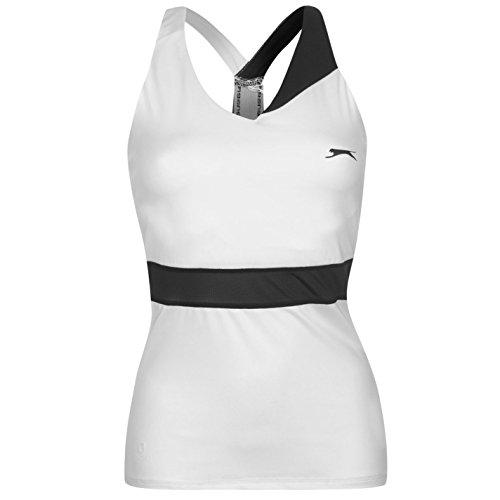 Slazenger Mujer Baseline Tenis Camiseta Top Señoras Deporte Entrenar Casual Blanco