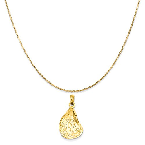 14k Yellow Gold Oyster Sea Life Pendant on a 14K Yellow Gold Rope Chain Necklace, 18