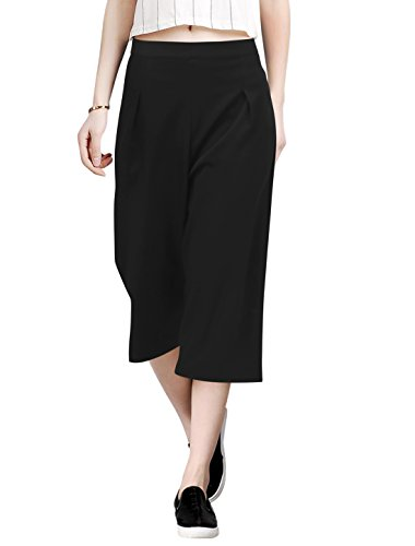Allegra K Women's Concealed Zipper Side Loose Capris Culottes