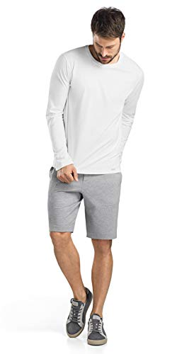 HANRO Men's Living Long Sleeve Shirt, White, Medium ()