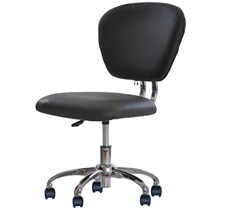 Black Pink White PU Leather Mid-Back Task Chair Office Desk