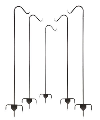 Set of 5 Achla Heavy-Duty Single Shepherd Hooks, Graphite