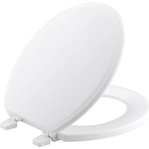 KOHLER K-4695-0 Ridgewood Molded-Wood with Color-Matched Plastic Hinges Round-front Toilet Seat,...