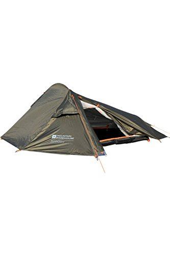 Mountain Warehouse 2 Man Backpacker Tent - 1 Room Festival Tent Green