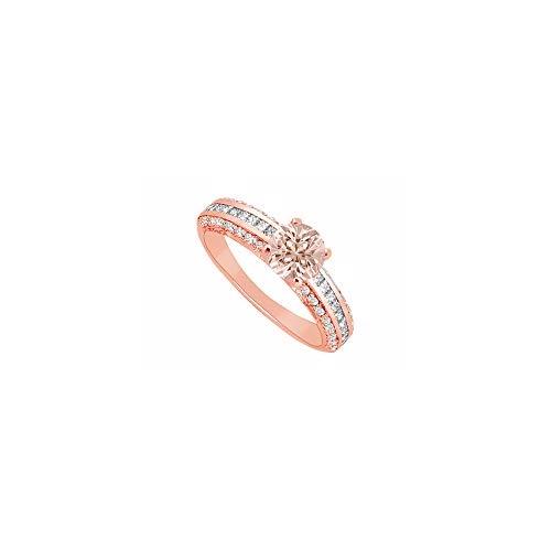Three Czs Ring Pink - Morganite and Three Rows of CZs in 14K Rose Gold Engagement Ring Cool Design at Fab Price