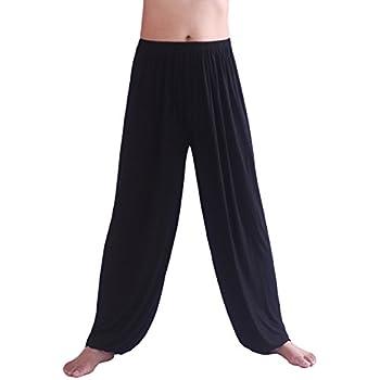 HOEREV Men's Super Soft Modal Spandex Harem Yoga/ Pilates Pants,Black,Medium