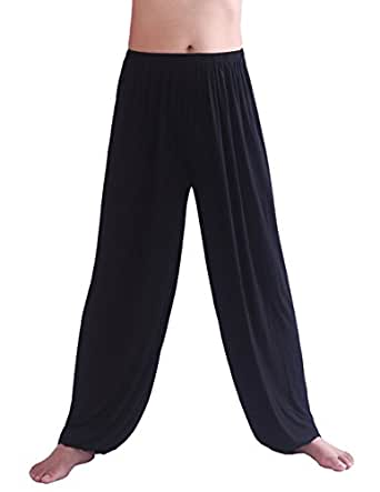 HOEREV Men's Super Soft Modal Spandex Harem Yoga/ Pilates Pants, black, X-small