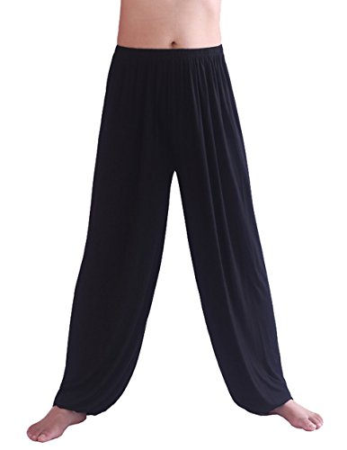 HOEREV Men's Super Soft Modal Spandex Harem Yoga/ Pilates Pants,Black,Large -