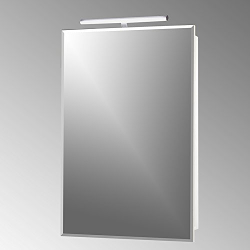 Spiegelschrank JULE500 Glanz weiß; Breite 50cm, 1 Spiegel-Tür, 2 Einlegeböden (ESG-Sicherheitsglas), mit LED Beleuchtung, Made in Germany