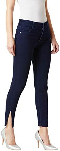 Miss Chase Women's Navy Blue Skinny Fit Mid Rise Cropped Length Denim Stretchable Jeans