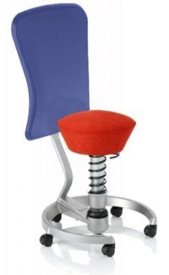Aeris Swopper Classic - Bezug: Microfaser / Ferraro-Rot | Polsterung: Tempur | Fußring: Titan | Spezial-Rollen für Teppichböden | mit Lehne und blauem Microfaser-Lehnenbezug | Körpergewicht: SMALL