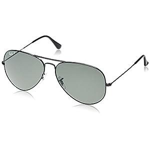 Ray Ban RB3025 Aviator Sunglasses-002/58 Black (Green Polarized Lens)-62mm