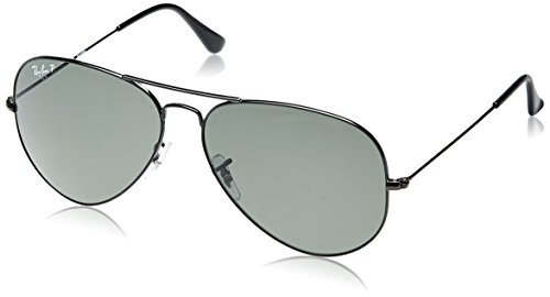 Ray Ban RB3025 Aviator Sunglasses-002/58 Black (Green Polarized - Ray Polarized 62 Ban Aviator