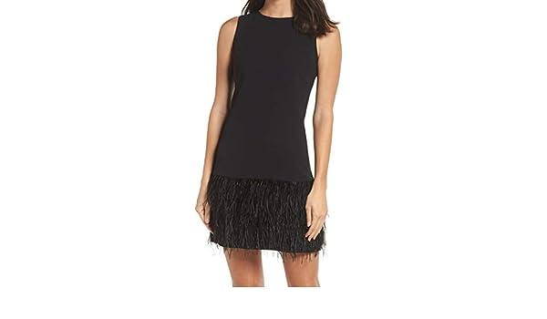 7efb95dc Sam Edelman Feather Hem Women's Cocktail Sheath Dress Black 4 at Amazon  Women's Clothing store: