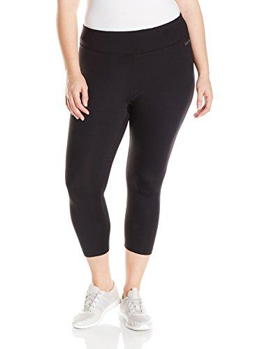 Calvin Klein Performance Women's Plus Size Crop Tight with Back Shirring, Black, 2X