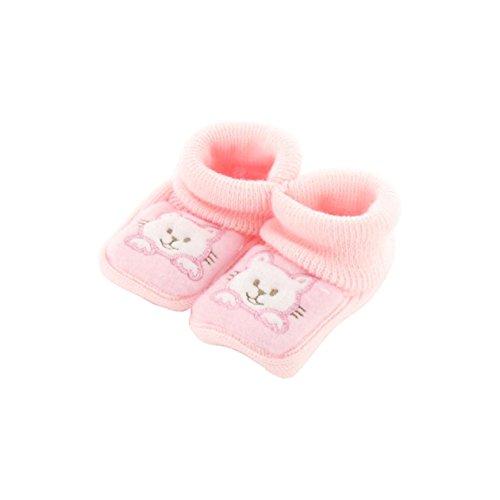 zapatitos de bebé 0-3 meses Rosa - Diseño gatito