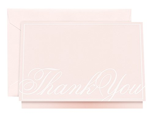 Crane & Co. Engraved Pink Script Thank You Note (CT1654)