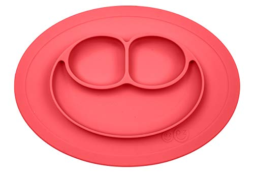 ezpz Mini Mat - One-Piece Silicone placemat + Plate (Coral), One Size