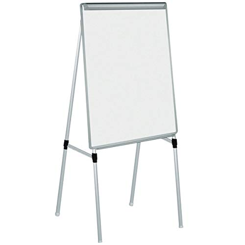 TableTop King EA2300335MV Silver Easy Clean 28'' x 39 1/2'' Dry Erase Quad-Pod Telescoping Presentation Easel with Silver Frame by TableTop King