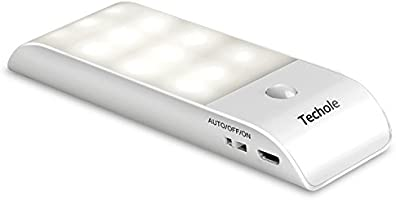 Lámpara Nocturna, Techole Luces Led con Sensor de Movimiento, Luz Recargable con Cinta Adhesiva Magnética, 3 Modos (auto/encendido/apagado), Luz inalambrica cálida para Armario / Pasillo / Escalera