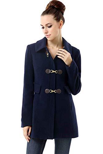 (BGSD Women's Rory Wool Blend Toggle Coat, Navy, Medium)