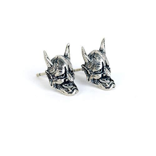 LINLIN 2 Pcs S925 Pure Silver Earrings Creative Skull Stud Earring Hypoallergenic Hoop Piercings Ear Jewelry Unisex