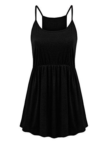 Feager Women's Summer Spaghetti Strap Pleated Sleeveless Slip Casual Cami Tunic Tank Top (Black, M)