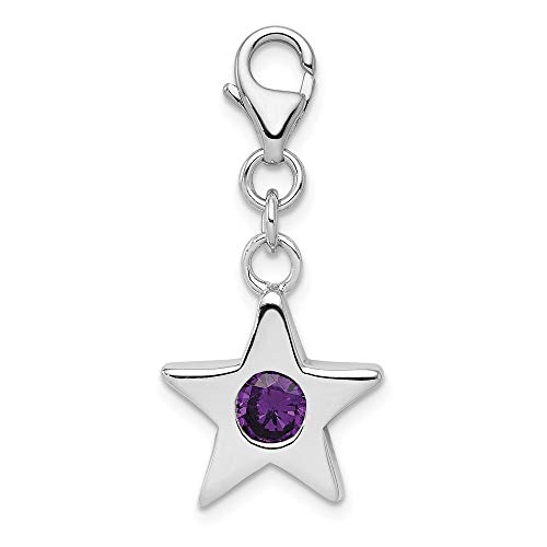 925 Sterling Silver February Cubic Zirconia Cz Birthstone Star Pendant Charm Necklace Celestial Fine Jewelry Gifts For Women For Her ()