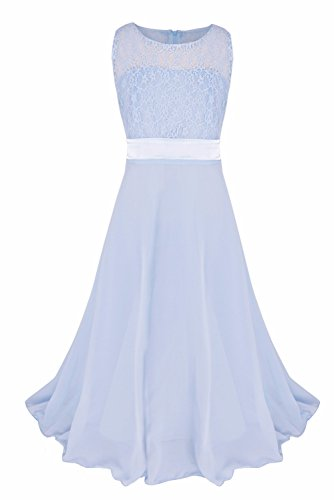 iiniim Big Girls Lace Chiffon Junior Bridesmaid Dress Kids Dance Party Ball Gown Sky Blue 14