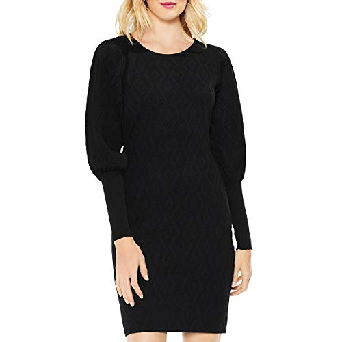 Vince Camuto Womens Bubble Sleeve Texture Jacquard Sweater Dress Rich Black SM One Size