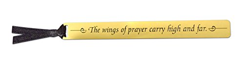 The Wings of Prayer Carry High and Far - Premium Inspirational Golden Rule Metal Bookmark with Black Ribbon