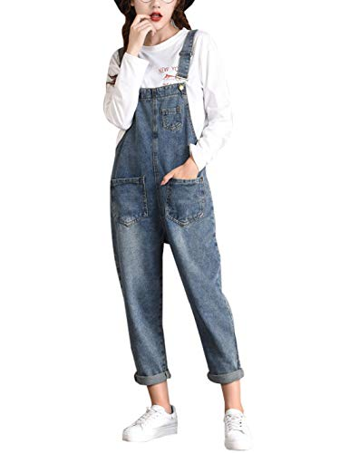 Jenkoon Women's Baggy Denim Bib Overall Pant Loose Jeans Jumpsuits Jeans (Blue- 02, X-Large)