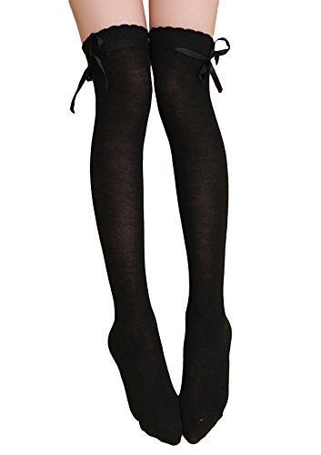 Womens Girls Thigh High Striped Cotton Socks Over Knee Stockings-Black
