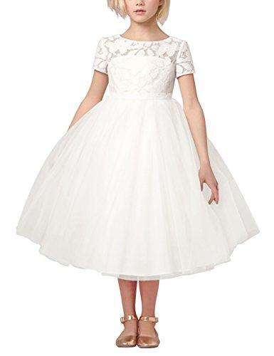 Dress White Princess (iiniim Kids Girls Heart Shape Back Princess Pageant Wedding Party Flower Girl Dress)