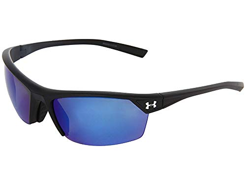 Under Armour Zone 2.0 Satin Black frame, with Black Rubber, and Gray-Blue Multiflection Polarized Lens