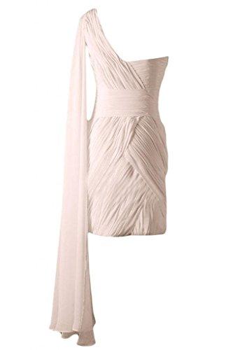 feste A Bateau per Chiffon Sunvary damigella d'onore per Pink Abito corte maniche elegante A Line Maglia wEYwCq6Ux