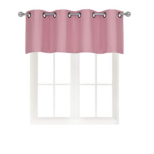 Home Queen Solid Grommet Top Blackout Curtain Valance Window Treatment for Living Room, Short Straight Drape Valance, Set of 1, 54 X 18 inch, Peach
