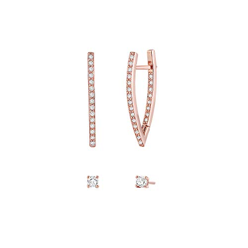 14K Rose Gold Plated Hoop Earrings Clear Cubic Zirconia Triangle Earrings Set For Women(2 Pairs) Christmas Day Gift for Women