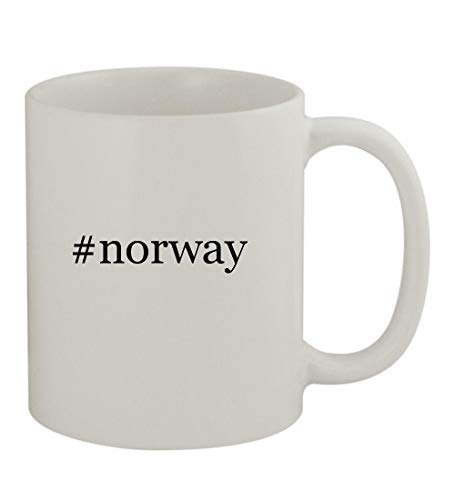 #norway - 11oz Sturdy Hashtag Ceramic Coffee Cup Mug, White
